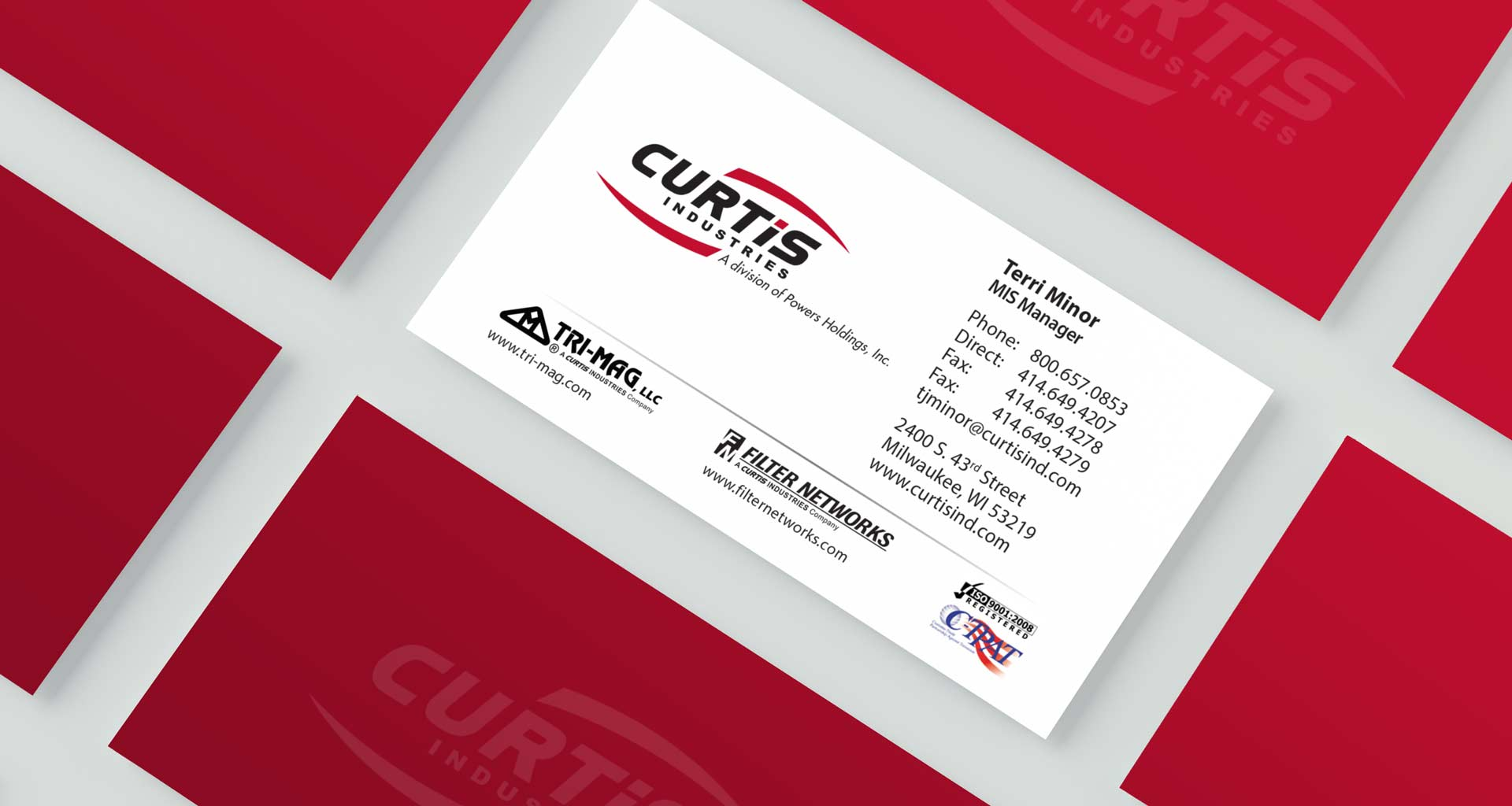 NAVEO marketing designed new business cards for Curtis Industries as part of their new industrial marketing strategy.