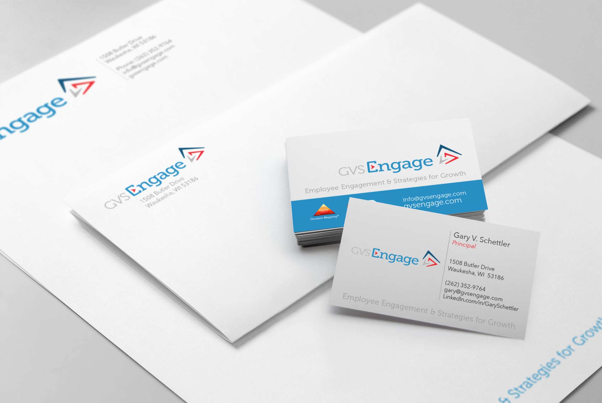 NAVEO Marketing develops marketing collateral ideas for GVS including ENGAGE-themed stationary.