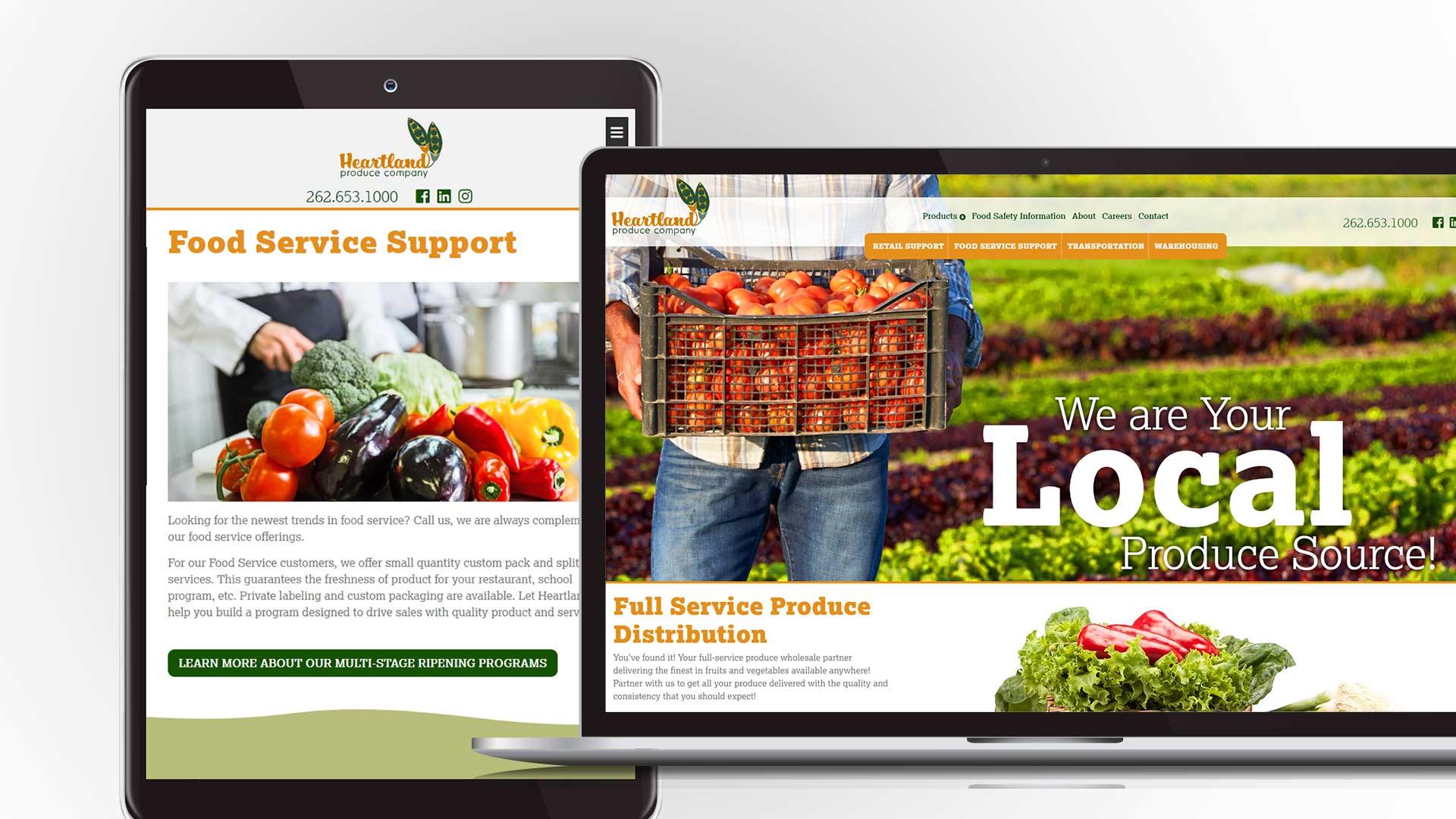 Brand development agency NAVEO develops FRESH bold landing pages for Heartland Produce website.