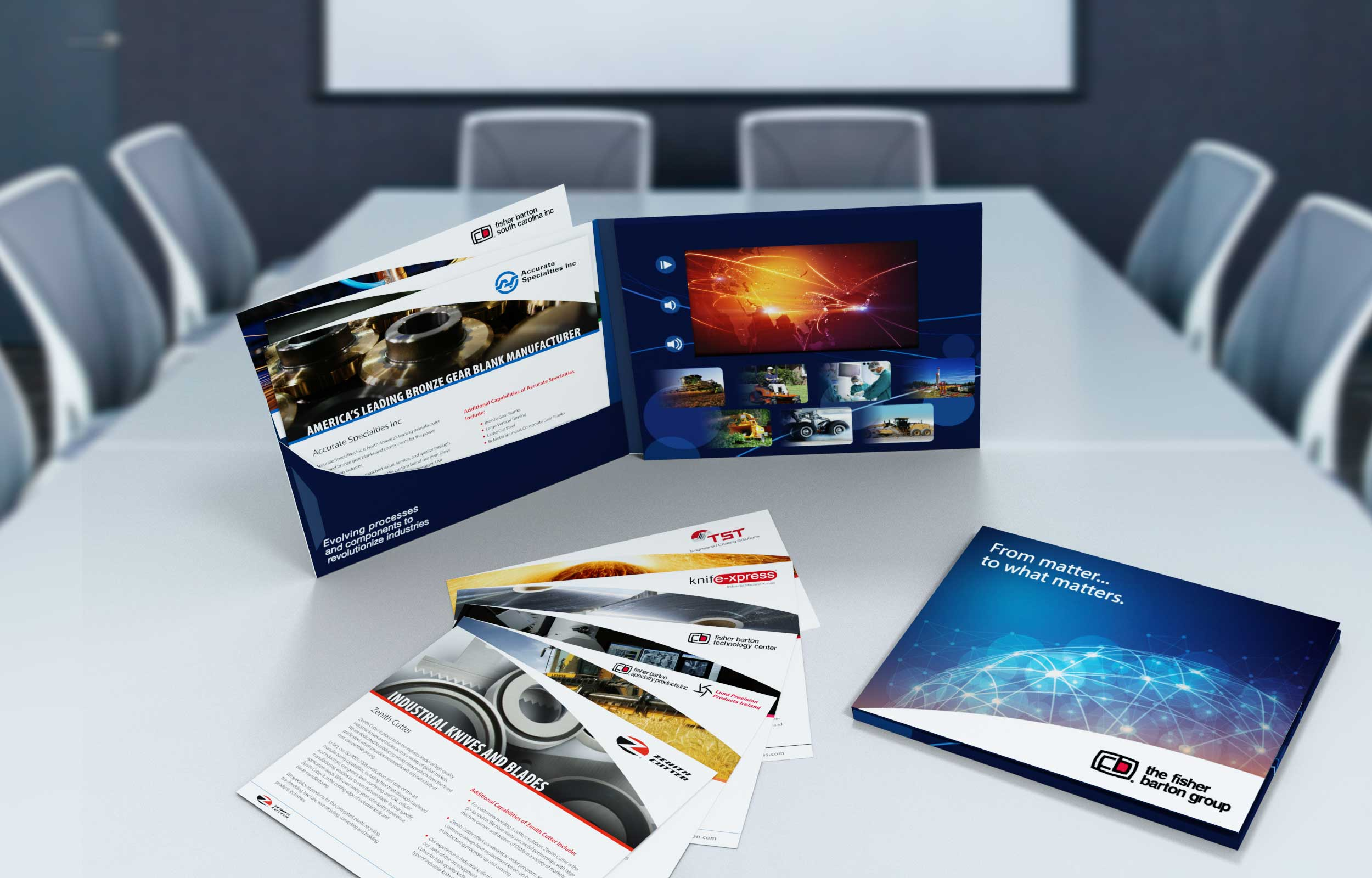 Fisher Barton marketing collateral developed by NAVEO marketing as part of brand value proposition development.