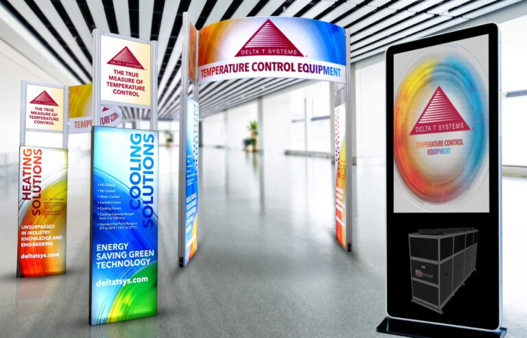 NAVEO created bold graphics on banner stands as part of trade show exhibit design for client Delta-T.