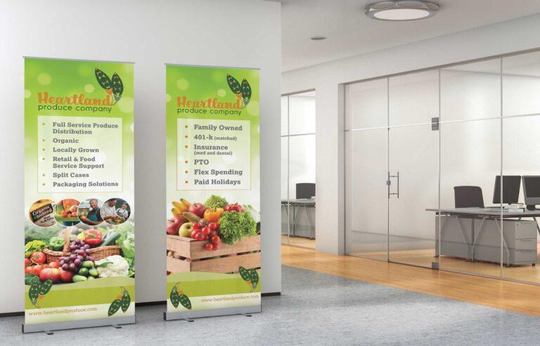 Brand development company NAVEO marketing produces new tradeshow banners for Heartland Produce Company.