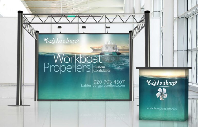 NAVEO created bold graphics on banner stands as part of trade show exhibit design for Kallenberg.