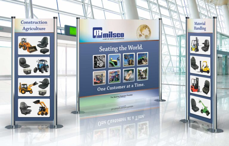 Milwaukee ad agency NAVEO created bold graphics on banner stands as part of trade show exhibit design.